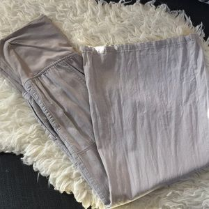 Gray flared maternity linen pants
